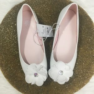 Girls Dress Shoes Flower White